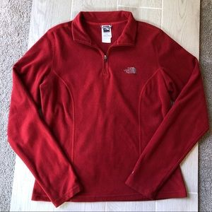 The North Face red fleece quarter zip pullover